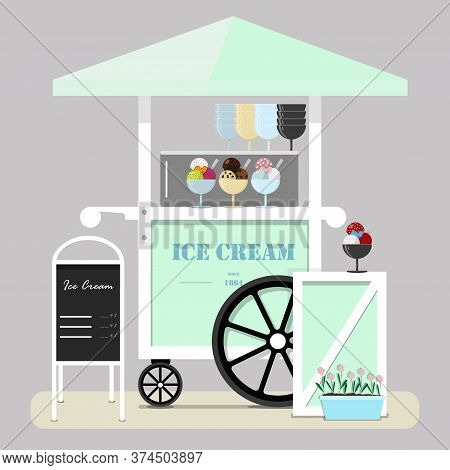 Flat Cute Ice Cream Cart. Diner In The Park, At The Fair, Street And Festival.  Illustration In Past