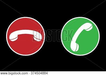 Answer Or Reject Call Icons, Red And Green Circular Icons With Handset Icon Vector Illustration