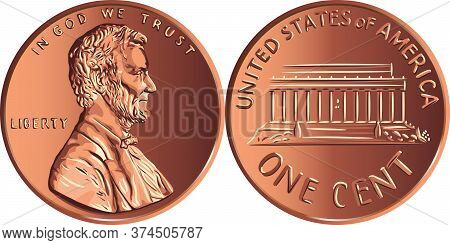 American Money Lincoln Memorial Cent, United States One Cent Or Penny, Coin With President Abraham L