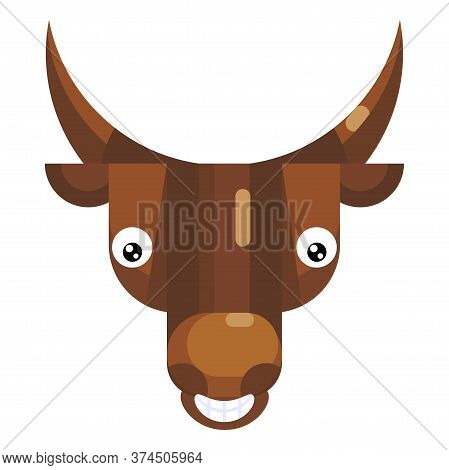 Bull Face Emoji, Happy Smiling Cow Icon Isolated Emotion Sign