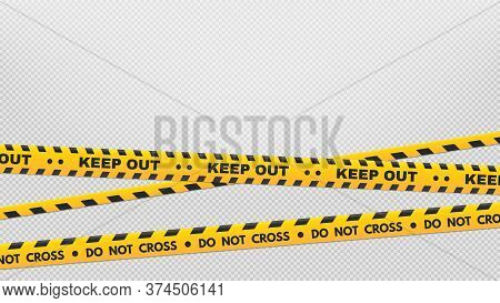 Caution Perimeter Stripes. Warning And Danger Tapes. Black And Yellow Do Not Cross And Keep Out Line