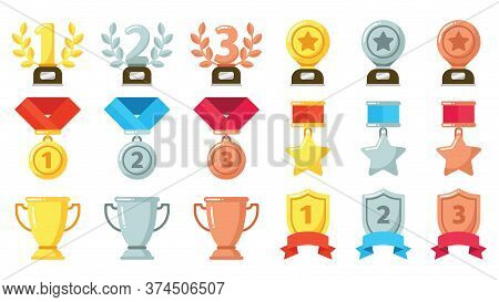 Gold, Silver, Bronze Achievement Or Awards. Medals, Trophies And Rewards With Olive Wreath Set For W