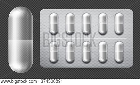 Medical Pill Packaging With Capsules. Illness And Pain Treatment With Painkiller, Antibiotic Or Vita