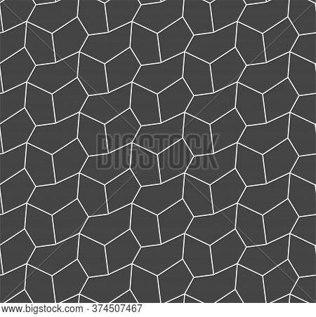 Continuous Minimal Vector Rhombus Textile Pattern. Repetitive Wave Graphic, Diagonal Backdrop Textur