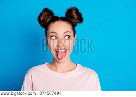 Closeup Photo Of Attractive Childish Lady Two Funny Buns Stick Tongue Out Mouth Teasing Boyfriend Av