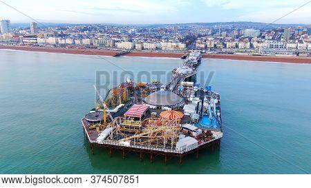 Flight Over Brighton Pier And Beach In England - Aerial View - Brighton, United Kingdom, December 29