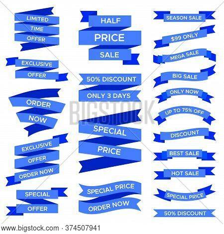 Blue Sale Ribbons Set Isolated On White Background. Labels Of Various Shapes And Forms With Text For