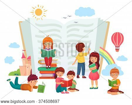 Kids Reading Books. Children In Group Enjoying Literature, Loving To Read. Boys And Girls Learning O
