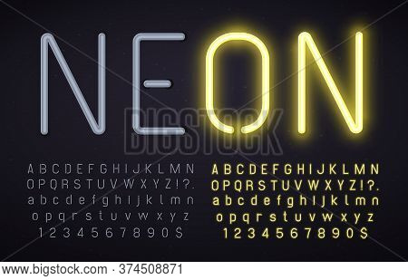 Neon Font With Light On And Off. Glowing Alphabet, Numbers And Punctuation Marks With Luminous Effec