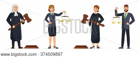 Judges And Lawyers. Judge Holding Hammer And Lawyer With Scales Of Justice. Judicial Workers, Law Ca