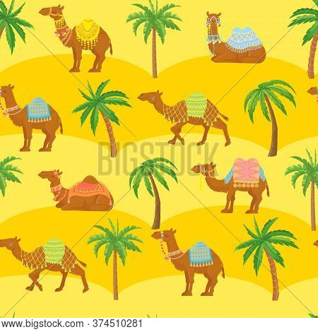 Seamless Camel Pattern. Cute Cartoon Camels In Desert Among Sand Dunes And Palm Trees. Egyption Trib