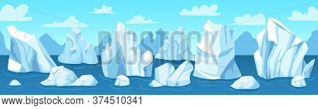 Seamless Arctic Landscape. Icebergs, Snow Mountains And Hills Antarctic Drifting Glacier, Winter Pan