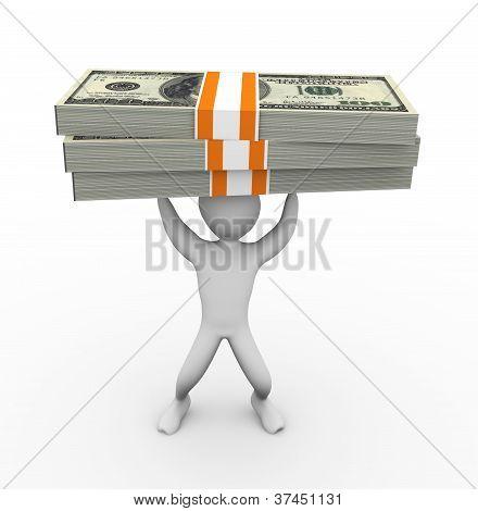 3D Man Holding Dollar Pack