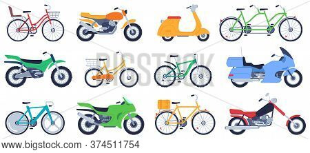 Flat Motorbikes. Motorcycles, Bikes And Scooters, Speed Bicycle For Delivery Product, Travel On Vehi