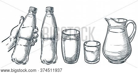 Hand Holding Plastic Bottle With Water. Pure Mineral Drinking Water In Glass Cup And Jug. Vector Ske