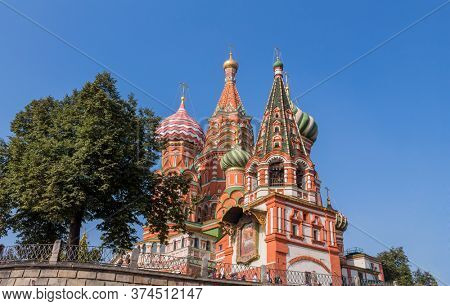 Moscow, Russia - August 28, 2019: St Basil`s Cathedral on Red Square in Moscow, Russia. St Basil`s temple is one of top tourist attractions of Moscow