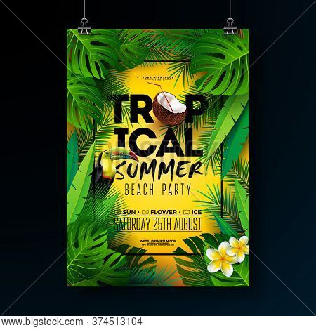 Tropical Summer Beach Party Flyer Design With Flower, Tropical Palm Leaves And Toucan Bird On Sun Ye