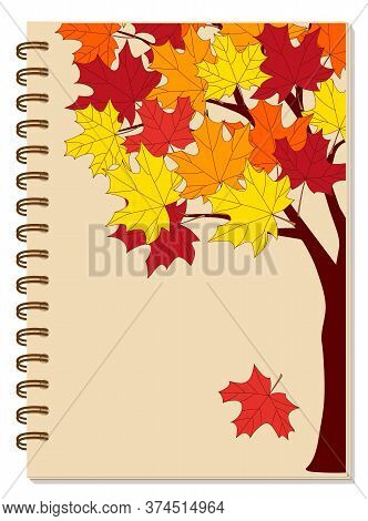 Cover Design With Hand Drawn Colorful Autumn Maple Tree For Tutorial Cover, School Notebook, Exercis