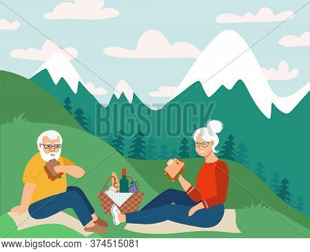 Retired Couple Having Picnic In Mountains Happy Retirement Flat Vector Sketch Illustration. Elderly