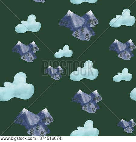 Seamless Pattern With Blue Clouds And Snowy Mountains On Green Background. Summer, Spring, Nature, T