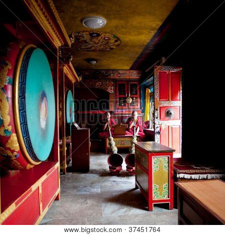 Puja ceremony in buddhist monastery, Nepal