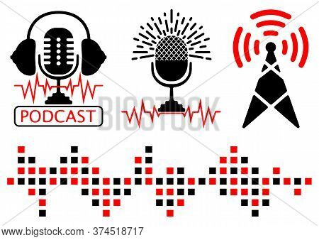Podcast Radio Icon Illustration Sets. Broadcast Tower, Radio Frequency And Microphone With Headphone