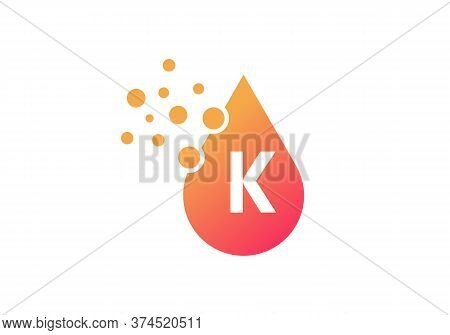 Aqua Logo. Spa Therapy Emblem. Letter K Like A Drop Of Water. Identity. Emblem For Cosmetics Or Clot