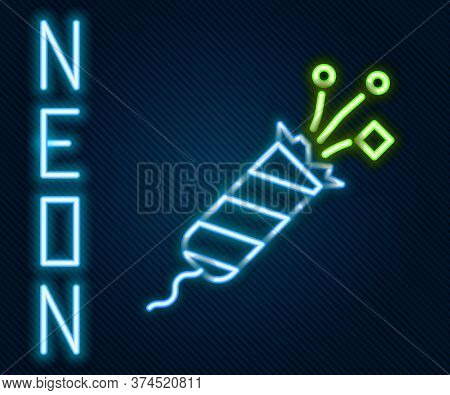 Glowing Neon Line Firework Rocket Icon Isolated On Black Background. Concept Of Fun Party. Explosive