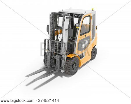 3d Rendering Orange Forklift With Cab On White Background With Shadow