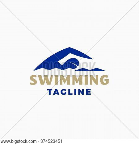 Swimming Abstract Modern Vector Sign, Emblem, Icon Or Logo Template. Sportsman Swimmer Person In A W