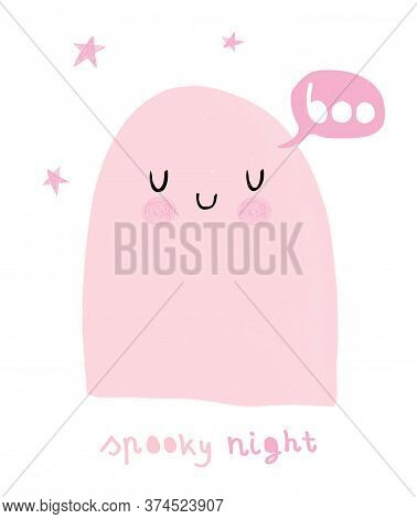 Happy Halloween. Spooky Night. Funny Hand Drawn Halloween Vector Illustration With Sweet Pink Ghost