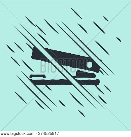 Black Office Stapler Icon Isolated On Green Background. Stapler, Staple, Paper, Cardboard, Office Eq