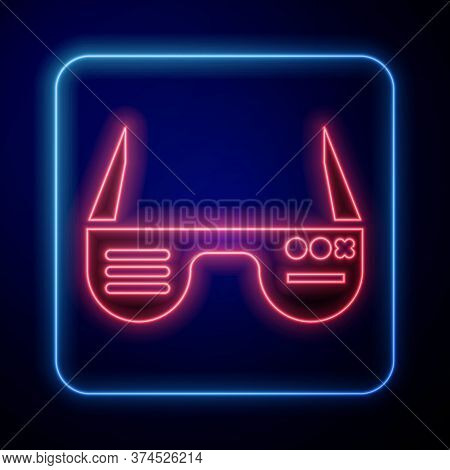 Glowing Neon Smart Glasses Mounted On Spectacles Icon Isolated On Blue Background. Wearable Electron