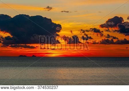 Cloudy Red Sky At Sunset On Riviera Of Ulysses, Sperlonga Italy. High Quality Photo