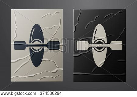 White Kayak And Paddle Icon Isolated On Crumpled Paper Background. Kayak And Canoe For Fishing And T