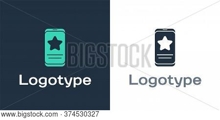 Logotype Mobile Phone With Review Rating Icon Isolated On White Background. Concept Of Testimonials