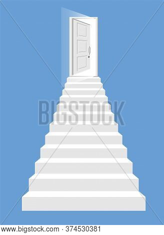 White Stairs And Open Door Isolated. Steps Up To The Shining Entry. Concept Of Success, Achievement,
