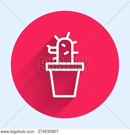 White Line Cactus And Succulent In Pot Icon Isolated With Long Shadow. Plant Growing In A Pot. Potte