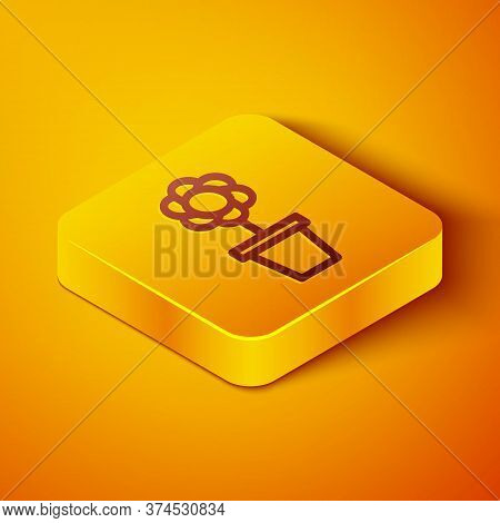 Isometric Line Flower In Pot Icon Isolated On Orange Background. Plant Growing In A Pot. Potted Plan