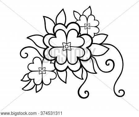 Flowers Floral Arrangement With Leaves, Shoots And Flowers - Vector Linear Picture Element For Color