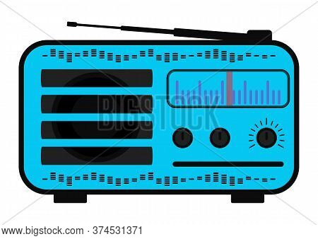 Color Radio Station. Radio In Purple Color With Antenna, Scale. Receiver Station. Vector Illustratio
