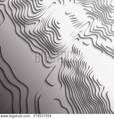 Map Line Of Topography. Vector Abstract Topographic Map Concept With Space For Your Copy. Black And