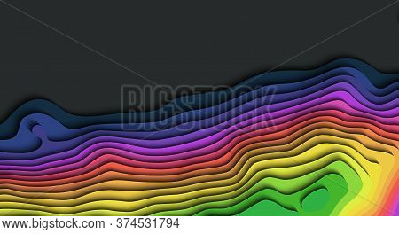 Map Line Of Topography. Vector Abstract Topographic Map Concept With Space For Your Copy. 3d Map Moc
