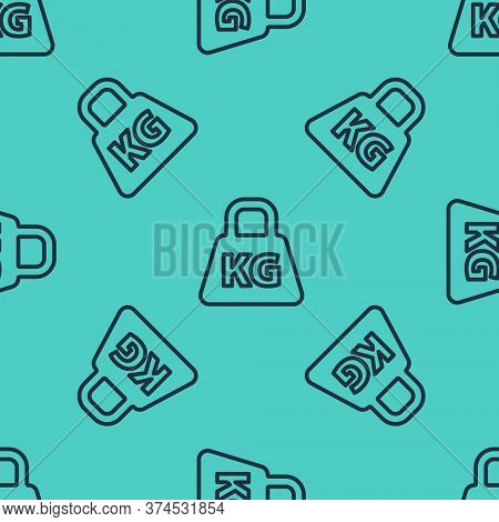 Black Line Weight Icon Isolated Seamless Pattern On Green Background. Kilogram Weight Block For Weig