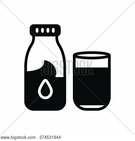 Black Solid Icon For Milk Bottle Glass Healthy Calcium Nutrient Fresh