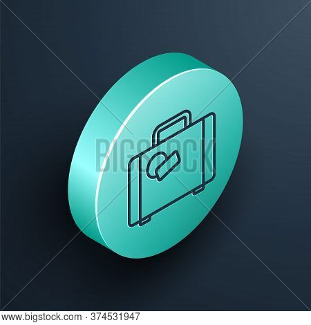Isometric Line Suitcase For Travel Icon Isolated On Black Background. Traveling Baggage Sign. Travel