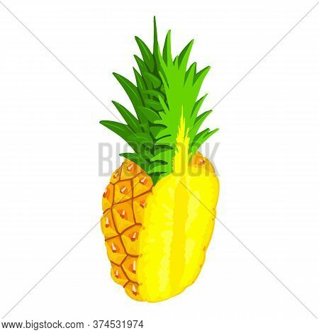 Half Cutted Pineapple Icon. Isometric Of Half Cutted Pineapple Vector Icon For Web Design Isolated O
