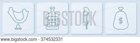 Set Line Wild West Saddle, Feather Pen, Whiskey Bottle And Money Bag. White Square Button. Vector