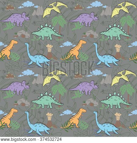 Seamless Kids Pattern With Dinosaurs. Vector Illustration, Design Of Wild Animals, Reptiles, For Pri