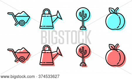 Set Line Tree, Wheelbarrow With Dirt, Watering Can And Peach Fruit Icon. Vector